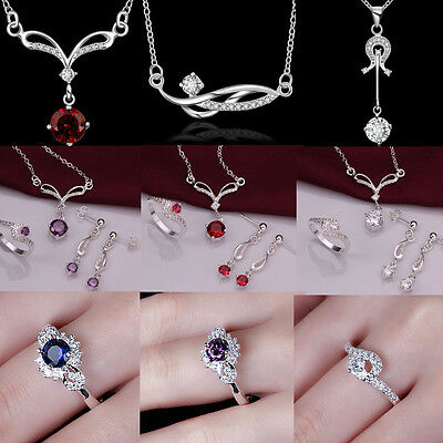 NEW Fashion womens 925silver necklace earings ring set silver jewelry+Gift Box