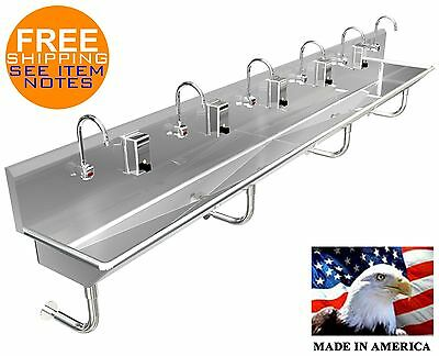"Hand Sink Stainless Steel 6 Users 144"" Hands Free (2) Drains 2"" Npt Made In Usa"