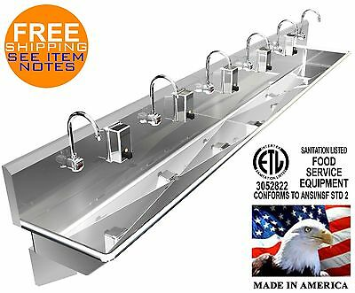 "6 Users 132"" Multiperson Hand Sink Elec Faucet (2) Drains 2"" Npt Made In America"