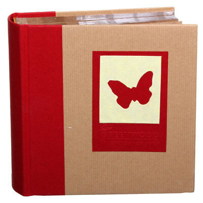 Green Earth Red Butterfly 7x5 Slip In Photo Album - 100 Photos