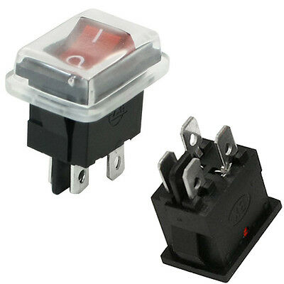 4 Pin DPST Rocker Illuminated Switch With Rubber Shield ON/OFF 250V, 6A