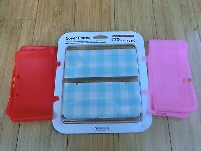 Nintendo New 3DS Cover Plates, Faceplate, Zierblende, Pink / Blau / Creme, OVP
