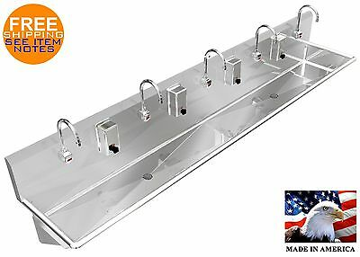 "5 Person 10' Multi Hand Sink Electronic Faucet (2) 2"" Npt Drains Made In Marica"