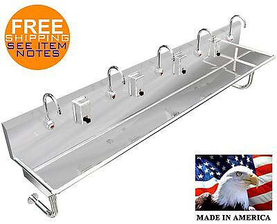 "Hand Sink Stainless Steel 5 Users 120""=10'-0"" / (2) 2"" Npt Drain Made In America"