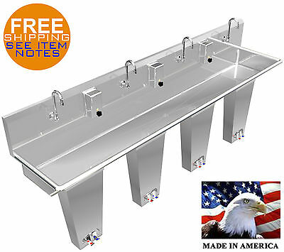 "Hand Sink Floor Mount 4 Station 96"" Pedal Valve Wash-Up Hands Free Stainless St."