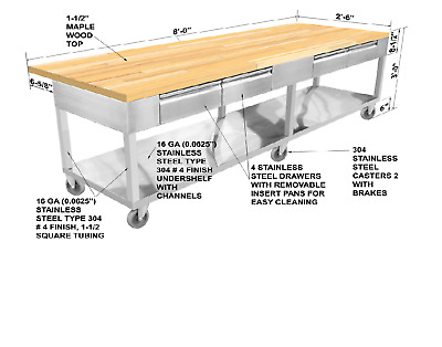"Stainless Steel Prep Island Table Maple Wood Top 30""x96"" 4 Drawers Full Shelf"