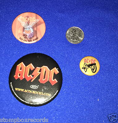 LOT(3)vintage AC/DC ACDC For Those About Rock Fly on Wall PROMO BUTTON PIN badge