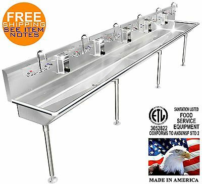 "Multi User 6 Station Hand Sink 144"" Manual Faucets (2) 2"" Npt Drains Made In Usa"