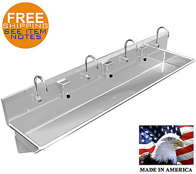 "4 Users 84"" Wash Hand Sink Automatic Elec. Faucet Stainless Steel Washing Sink"