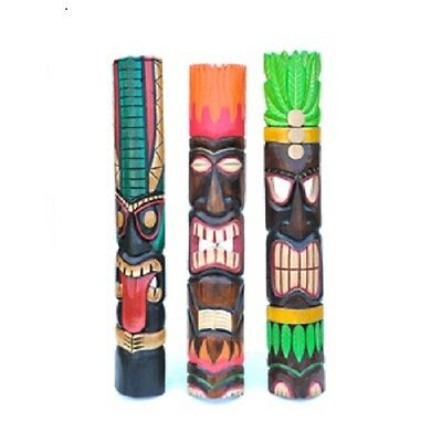 An Interesting, Intricately Hand Carved Colourful Trible Tiki Mask Random Design