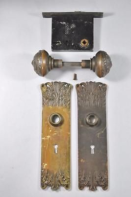 Antique Art Nouveau Corbin Brass Lockset Knobs / Handles Plate #09357