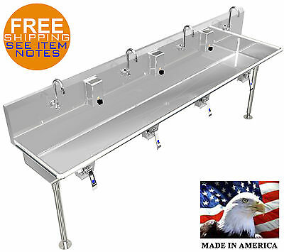 "Multi User 4 Person Hand Wash Sink 84"" With Knee Valves Hands Free Industrial"