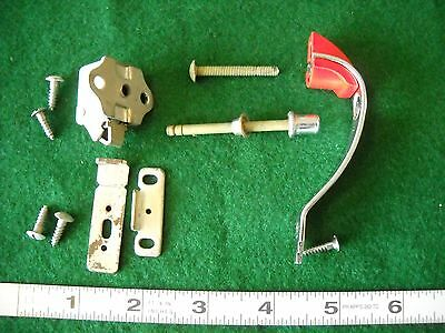 Vintage Chrome Deco Amerock Red Line Cabinet Pull Silver Metal Button Latch