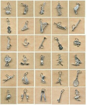 Sterling Silver Charms- Music, Sport