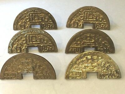 Vintage Fancy Heavy Brass Oriental Door Draw Cabinet Closet Handles Pulls Knobs