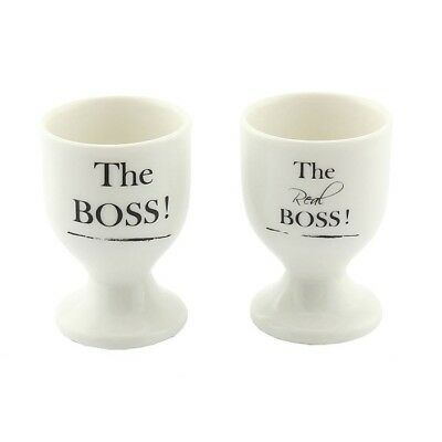 Set Of 2 The Boss & The Real Boss Egg Cups Novelty Gift His & Hers Wedding Gift