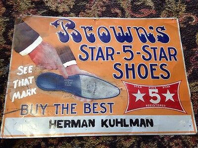 Antique Vintage metal advertising sign Browns 5-Star Shoes The White House RARE