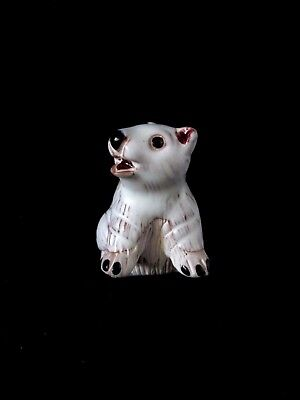Handcarved & Painted Polar Bear Art Artisana LEPS Collection Peru 1980's