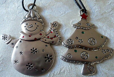 Avon Set Of 2 Gift Charm Ornaments,christmas Tree & Snowman,nib