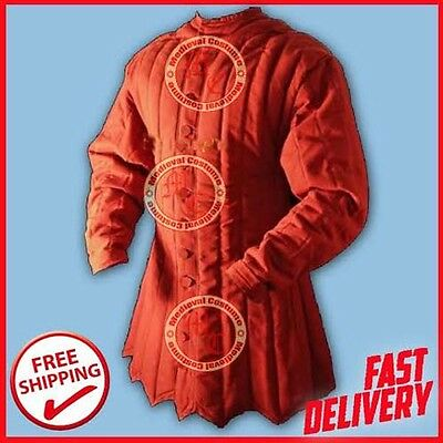 Medieval Thick Red Historical Padded Gambeson Armor LARP SCA Reenactment Costume