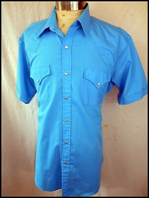 Vintage 90s Bright Blue Short Sleeve Sheplers Western Shirt Pearl Snaps XL