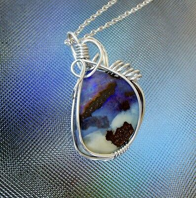 Large Australian Boulder Opal sterling silver wire wrapped pendant, necklace