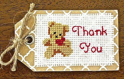 THANK YOU teddy tag HAND MADE embroidered AIDA CROSS STITCH card GIFT family ART