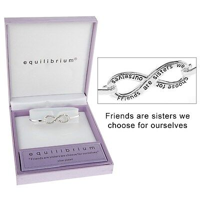 Equilibrium Silver Plated Friend Friendship Bracelet Bangle Infinity Symbol Gift