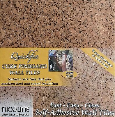 PACK OF 4 QUICKFIX NICOLINE CORK WALL TILES PINBOARD SELF ADHESIVE 8mm THICK