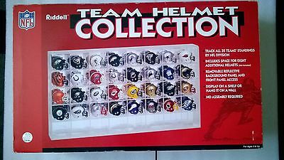 NFL American Football Riddell Traditional Pocket Pro 32 Helmets In Display Case