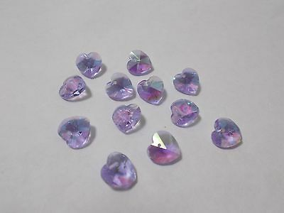 12pcs 10mm Crystal Glass Faceted Heart Charm Beads - Violet AB