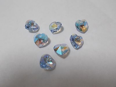 12pcs 10mm Crystal Glass Faceted Heart Charm Beads - Light Sapphire AB