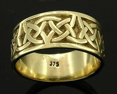 R280- Genuine SOLID 9ct Yellow Gold HEAVY WIDE Keltic Celtic BAND Ring size 10
