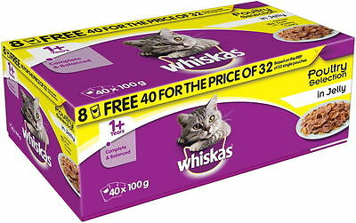 Whiskas Pouches Jelly Poultry Choice Poultry Selection 40 x 100g Wet Cat Food