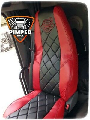 VOLVO FH/FM 2002-2013 Red&Black ECO LEATHER SEAT COVERS