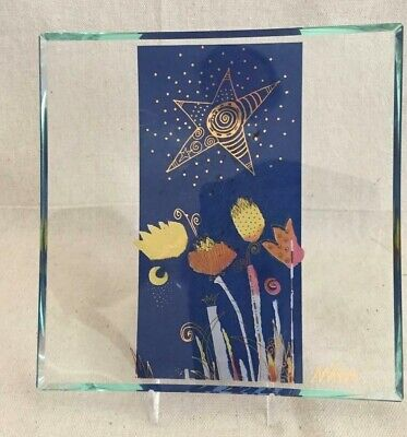 """8"""" Mara Curved Clear Glass Plate w/ Blue Section Yellow Flowers, Star and Moon"""