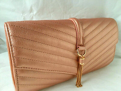 New Champagne Rose Gold Quilted Faux Leather Evening Day Clutch Bag Shoulder