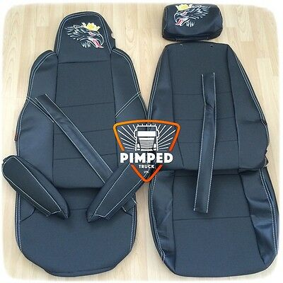 Black GRIFFIN SCANIA R-series 2014-.. ECO LEATHER SEAT COVERS 2 different seats