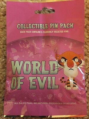 Disney World Of Evil Collectible 5 Pin Mystery Pack Brand New And Sealed 2016