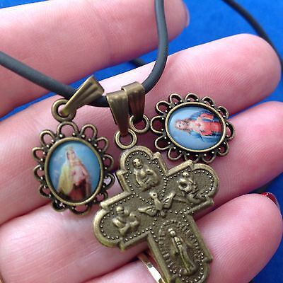 Antiqued Bronze Scapular Necklace 3 Way Cross Sacred Heart Immaculate Mary 18""