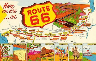 ROUTE 66 MAP CARD-Main Street of America        Postcard