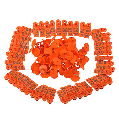 100x Livestock Orange Marking Ear Tag With Number 1~100 For identify Sheep Goat