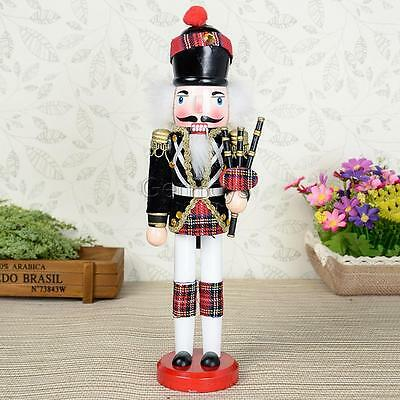 Black Red Painted Wooden Nutcracker w/ Bagpipe Home Decorative Collectibles