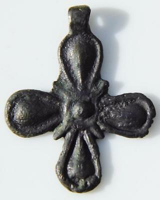 Unusual Rare Medieval Bronze Cross Crusaders Pilgrims Antique Religious Pendant