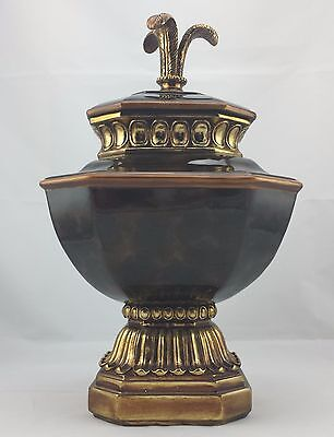 """Ginger Jar Ceramic Urn w/ Lid Chocolate and Gold Trim Asian Temple Inspired 14"""""""