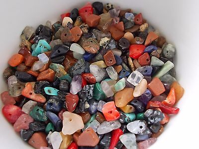 200pcs 5mm - 10mm GEMSTONE LOOSE CHIP Beads - 20 Assorted Mix ( 50g pack )