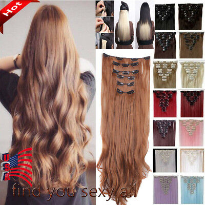 Full Head Clip in Hair Extensions 8PCS 18 Clips Real Long Natural as Human LADY