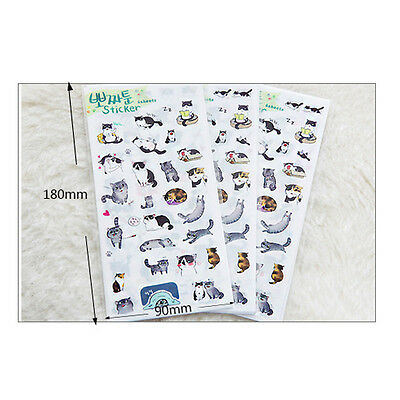 6Sheet Cat Paper Stickers for Diary Scrapbook Book Wall Decor Skin ca