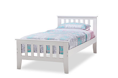 White Single Size Federation Timber Wood Bed Frame for Kids Boys and Girls
