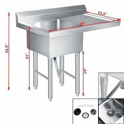 Commercial Stainless Steel Kitchen Utility Sink w/Drainboard - Bow Size 39""